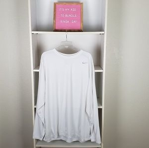 Nike White Dri-Fit Long Sleeve Top SZXXL